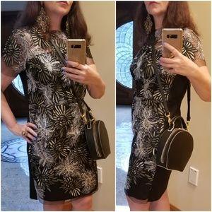ELEGANT Black Dress Gold & Silver Embroidery